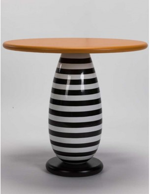 Stripe leather SIDE TABLE