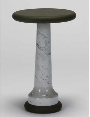 Grey Leather Small Side Table