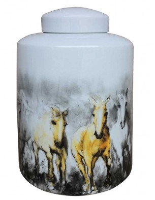 Porcelain container: handpainted horses