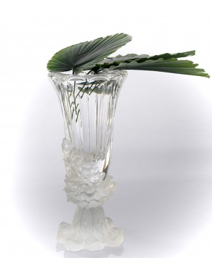 big size crystal vase clear + frosted base