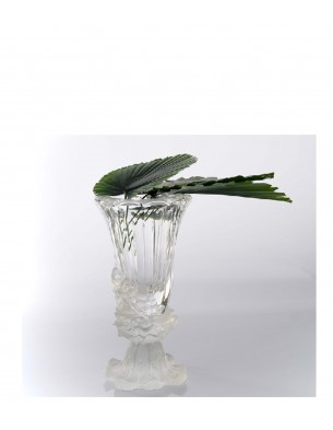 small size crystal vase clear + frosted base