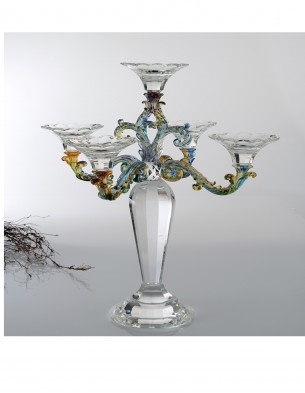 Candle Holder: Clear&Colorful 5 Heads Crystal